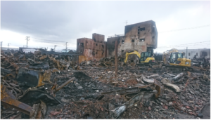 糸魚川大火災による市街地の様子