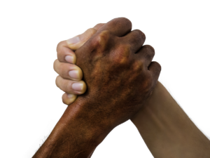 握手する男の腕