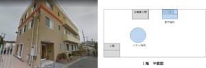 京都アニメーションスタジオの外観と平面図