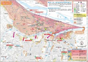 洪水による被害を想定したハザードマップ